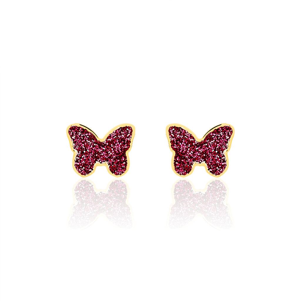 Boucles D'oreilles Puces Solena Papillon Or Jaune - Boucles d'Oreilles Papillon Enfant | Histoire d'Or