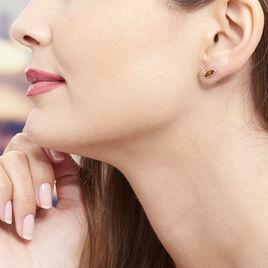 Boucles D'oreilles Puces Sylvaincine Argent Blanc Ambre - Boucles d'oreilles fantaisie Femme | Histoire d'Or