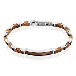Bracelet Acier Blanc Et Marron Bois Marron Bugios - Bracelets fantaisie Homme   Histoire d'Or