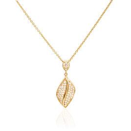 Collier Naina Plaque Or Jaune Oxyde De Zirconium - Colliers Plume Femme   Histoire d'Or