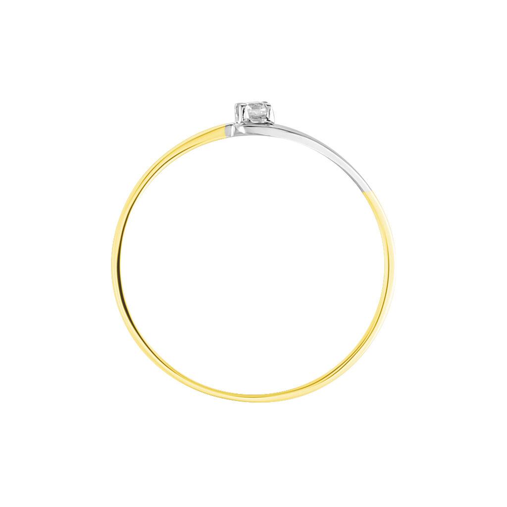 Bague Nesryne Or Bicolore Oxyde De Zirconium - Bagues solitaires Femme   Histoire d'Or