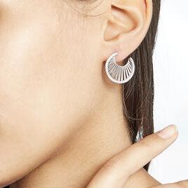 Créoles Feliz Rondes Argent Blanc Oxyde De Zirconium - Boucles d'oreilles créoles Femme   Histoire d'Or