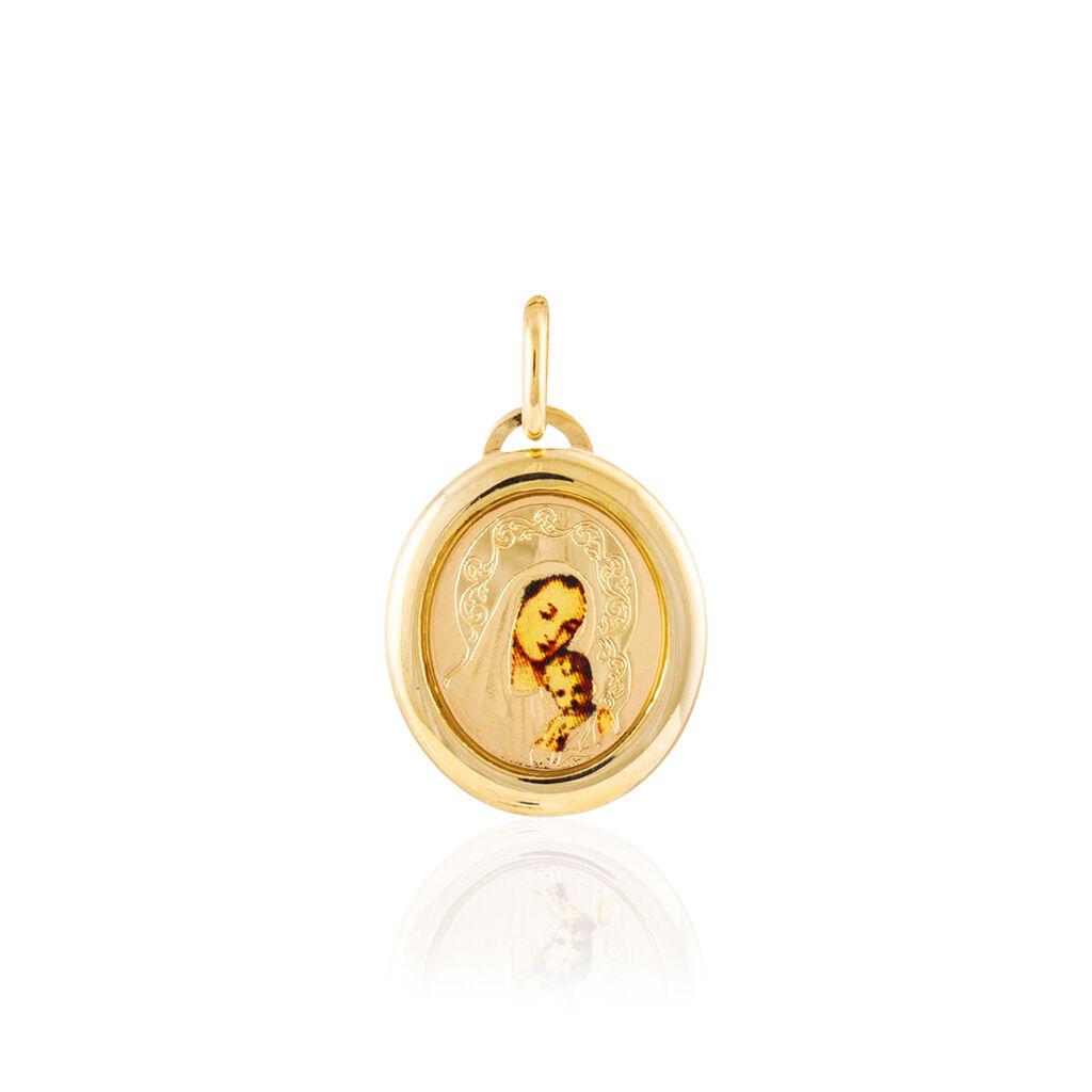 Pendentif Vierge Ovale Or Jaune - Bijoux Vierge Unisexe | Histoire d'Or