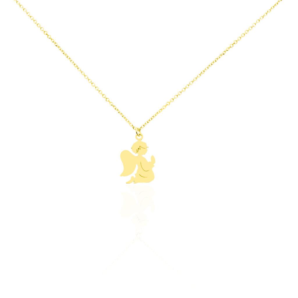 Collier Hallie Ange A Genoux Or Jaune - Colliers Baptême Enfant   Histoire d'Or