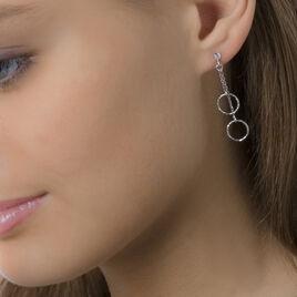 Boucles D'oreilles Pendantes Noemia Argent Blanc - Boucles d'oreilles fantaisie Femme   Histoire d'Or