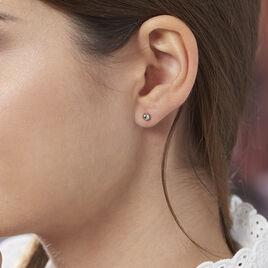 Boucles D'oreilles Puces Fidelia Boule Or Blanc - Clous d'oreilles Femme | Histoire d'Or