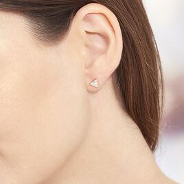 Boucles D'oreilles Puces Tallulah Argent Rose Pierre De Synthese - Boucles d'oreilles fantaisie Femme | Histoire d'Or