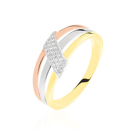 Bague Aurelianne Or Tricolore Diamant - Bagues avec pierre Femme   Histoire d'Or