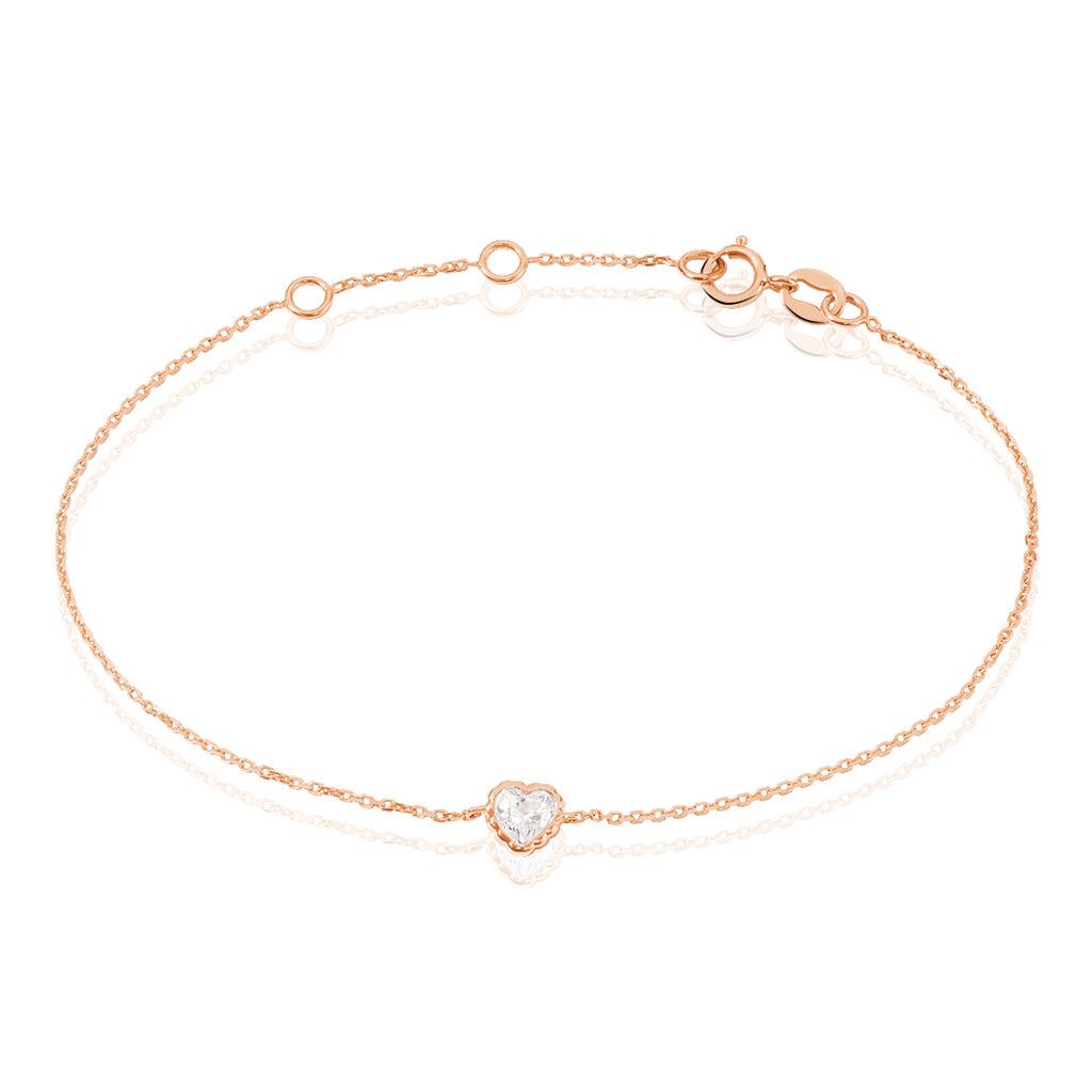 Bracelet Kadidjatou Or Rose Oxyde De Zirconium - Bracelets Coeur Femme   Histoire d'Or