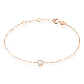 Bracelet Kadidjatou Or Rose Oxyde De Zirconium - Bracelets Coeur Femme | Histoire d'Or