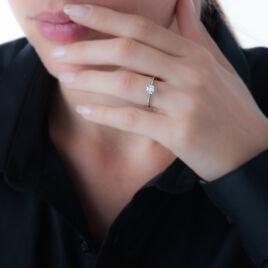 Bague Anne-lea Or Blanc Oxyde De Zirconium - Bagues solitaires Femme   Histoire d'Or