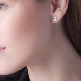 Boucles D'oreilles Puces Tyliana Or Blanc Diamant - Boucles d'Oreilles Coeur Femme | Histoire d'Or
