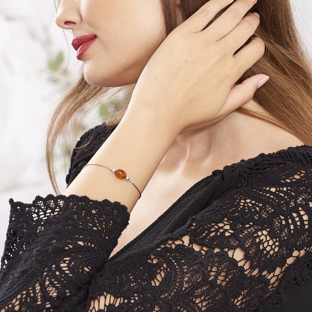 Bracelet Safaa Argent Blanc Ambre - Bracelets fantaisie Femme | Histoire d'Or