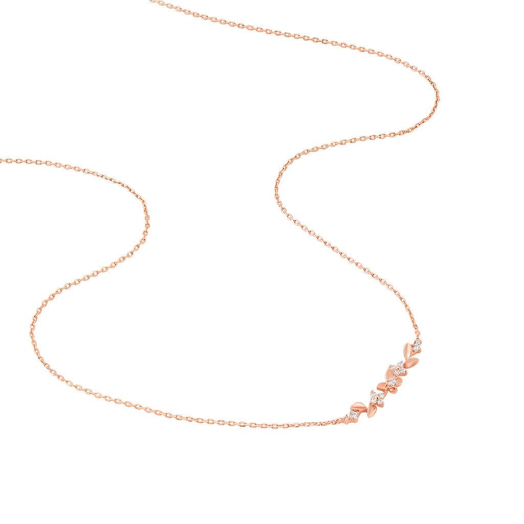 Collier Shaniz Argent Rose Oxyde De Zirconium - Colliers Papillon Femme | Histoire d'Or