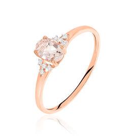 Bague Urbaine Or Rose Morganite Et Diamant - Bagues avec pierre Femme | Histoire d'Or