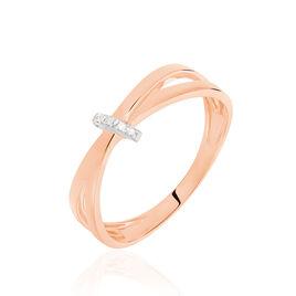 Bague Ilvia Or Rose Diamant - Bagues avec pierre Femme   Histoire d'Or