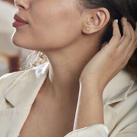 Boucles D'oreilles Puces Or Jaune Clematite Oxydes De Zirconium - Boucles d'Oreilles Coeur Femme   Histoire d'Or