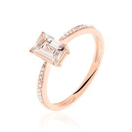 Bague Solitaire Cilly Or Rose Morganite Et Diamant - Bagues avec pierre Femme   Histoire d'Or
