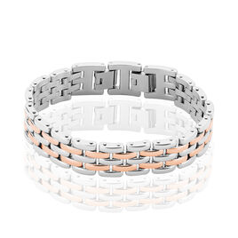 Bracelet Mareva Maille Grain De Riz Acier Bicolore - Bracelets fantaisie Femme   Histoire d'Or