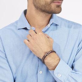 Bracelet Acier Cuir Cable Noeud Marin - Bracelets fantaisie Homme   Histoire d'Or
