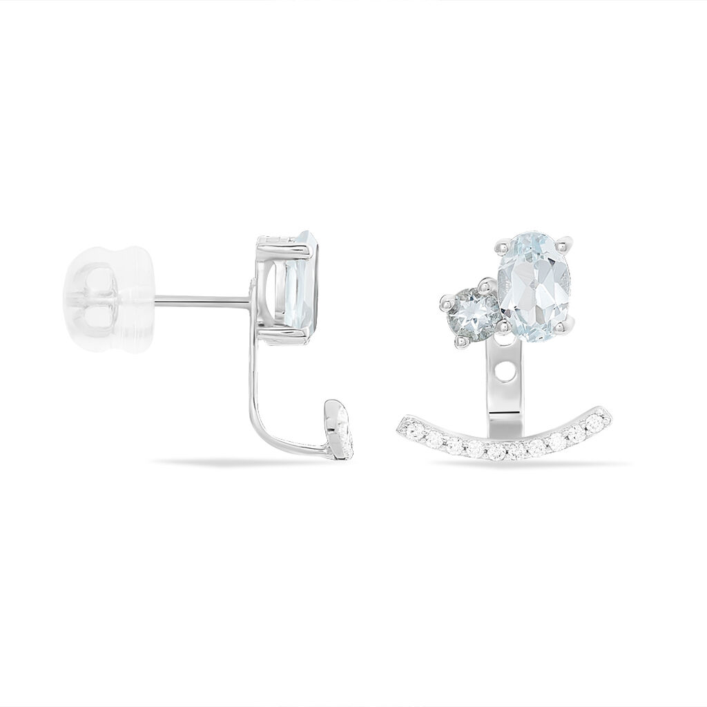 Bijoux D'oreilles Or Blanc Topaze Oxyde De Zirconium - Ear cuffs Femme | Histoire d'Or