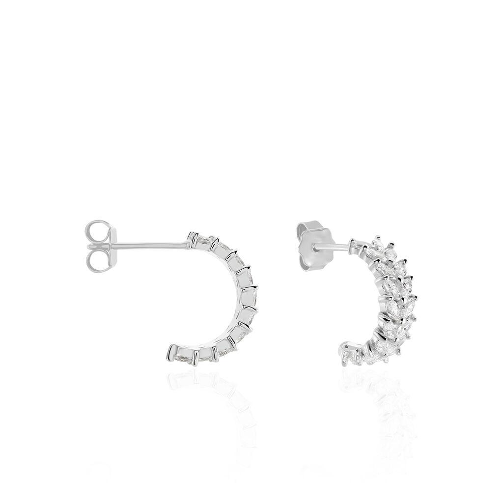 Créoles Sarida Rondes Argent Blanc Oxyde De Zirconium - Boucles d'oreilles créoles Femme   Histoire d'Or