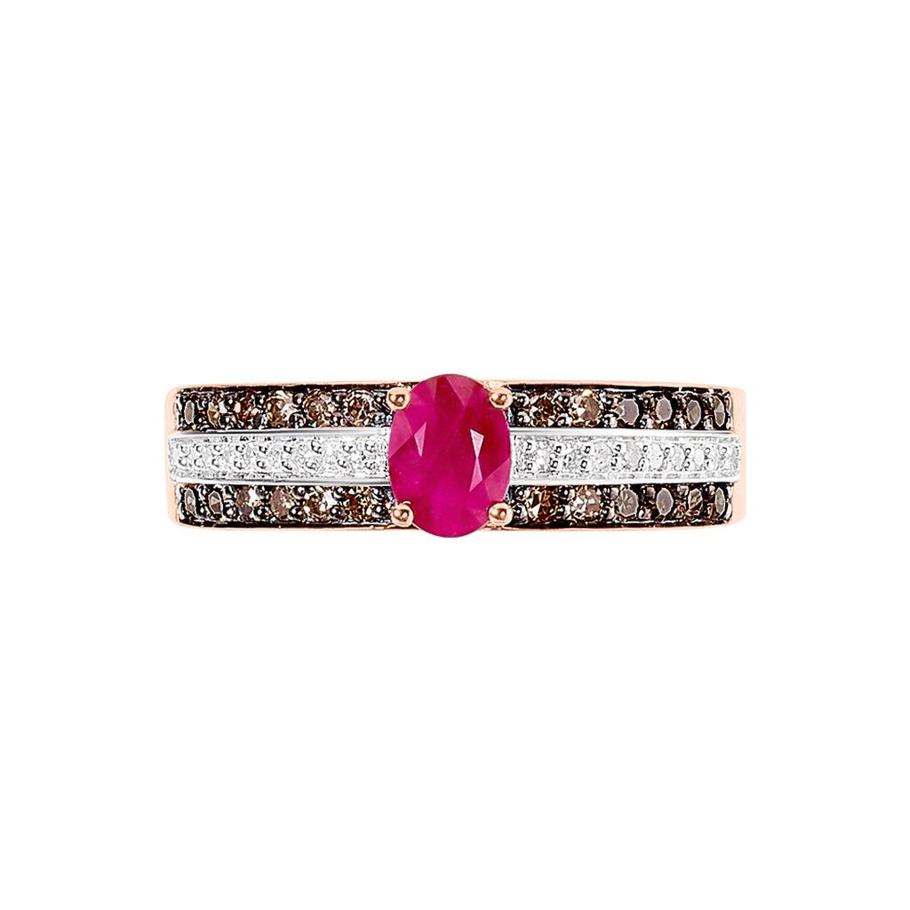 Bague Lexina Or Rose Rubis Et Diamant - Bagues avec pierre Femme | Histoire d'Or