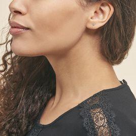 Boucles D'oreilles Puces Elea Serti Griffe Or Jaune Topaze - Clous d'oreilles Femme | Histoire d'Or