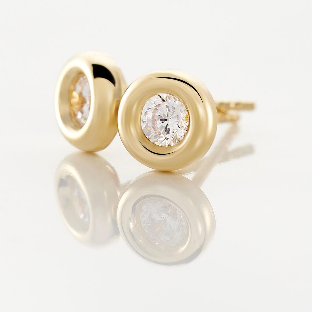 Boucles D'oreilles Puces Eden Serti Pneu Or Jaune Oxyde De Zirconium - Boucles d'Oreilles Plume Femme | Histoire d'Or