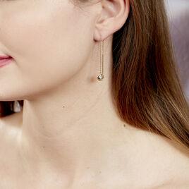 Boucles D'oreilles Plaque Or Adonia Puces Pierres Blanches - Boucles d'oreilles fantaisie Femme | Histoire d'Or