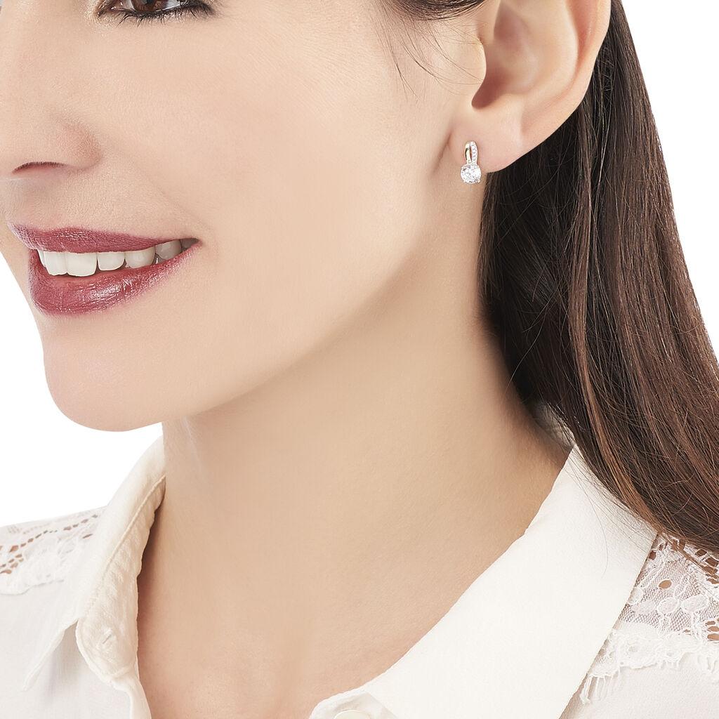 Boucles D'oreilles Pendantes Ofelie Or Jaune Oxyde De Zirconium - Boucles d'Oreilles Plume Femme   Histoire d'Or