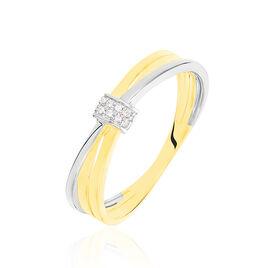 Bague Or Bicolore Teora Diamants - Bagues avec pierre Femme | Histoire d'Or