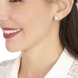 Boucles D'oreilles Puces Yuiae Argent Perle De Culture Et Oxyde - Clous d'oreilles Femme | Histoire d'Or
