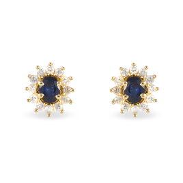 Boucles D'oreilles Puces Vladimir Or Jaune Saphir Et Diamant - Clous d'oreilles Femme | Histoire d'Or