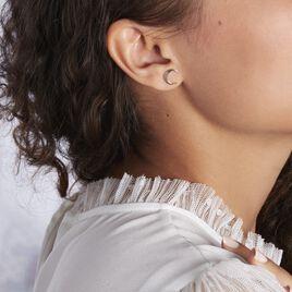 Boucles D'oreilles Puces Luna Argent Rose - Boucles d'Oreilles Lune Femme   Histoire d'Or