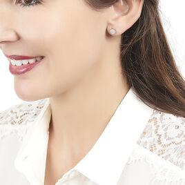 Boucles D'oreilles Puces Princesse Or Rose Diamant - Clous d'oreilles Femme | Histoire d'Or