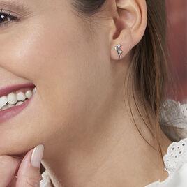 Boucles D'oreilles Puces Guenolee Argent Blanc Oxyde De Zirconium - Boucles d'oreilles fantaisie Femme   Histoire d'Or