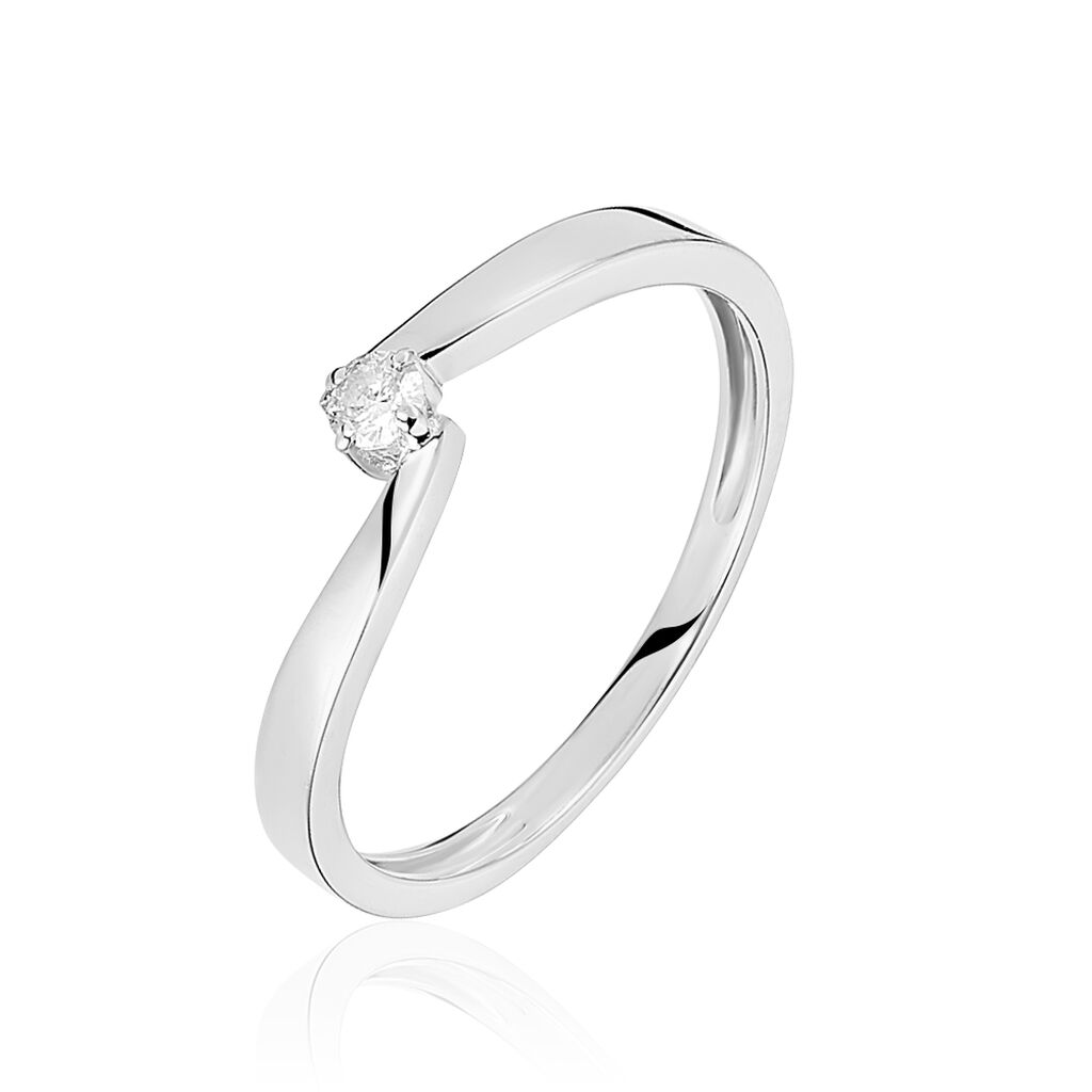 Bague Solitaire Samia Or Blanc Diamant - Bagues solitaires Femme | Histoire d'Or
