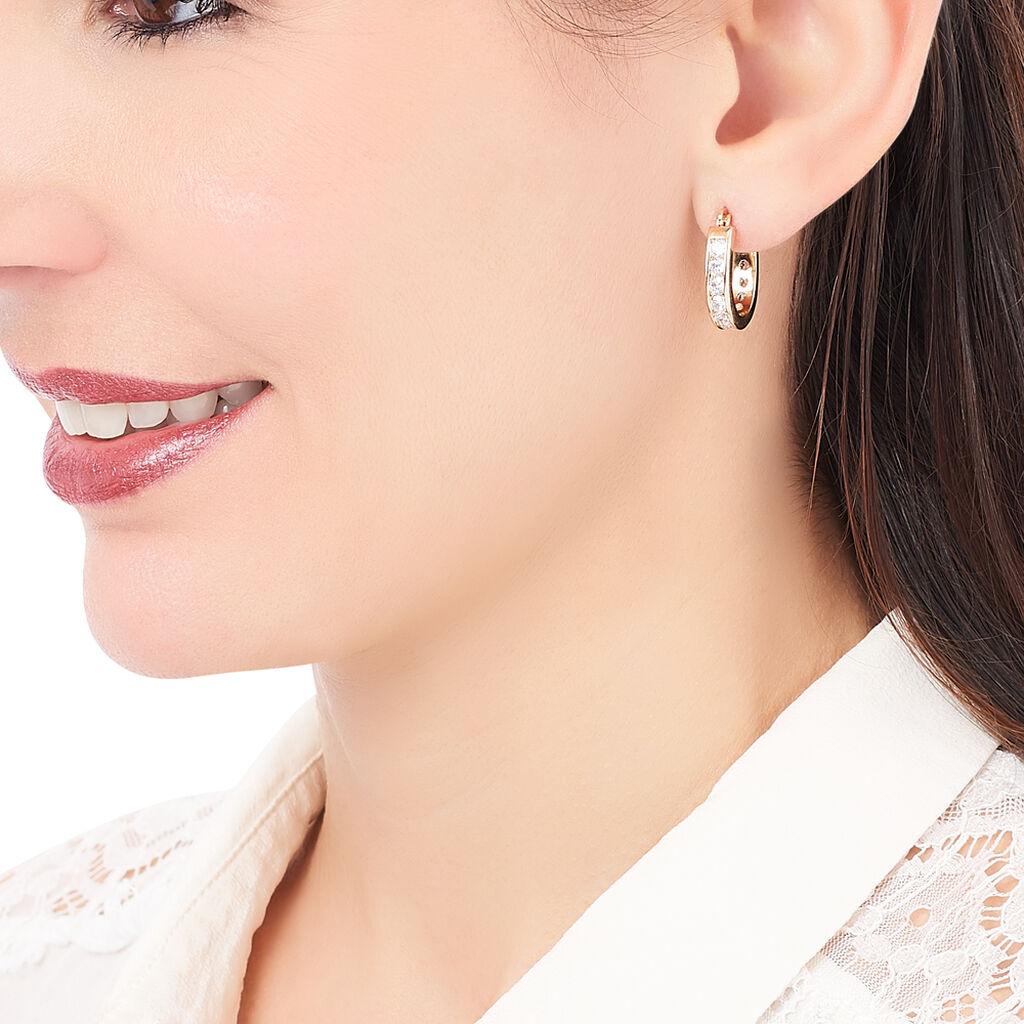 Créoles Doryne Plaque Or Jaune Oxyde De Zirconium - Boucles d'oreilles créoles Femme   Histoire d'Or