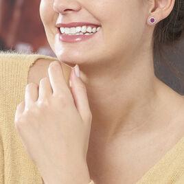 Boucles D'oreilles Puces Lise-laure Or Blanc Rubis Et Diamant - Clous d'oreilles Femme | Histoire d'Or