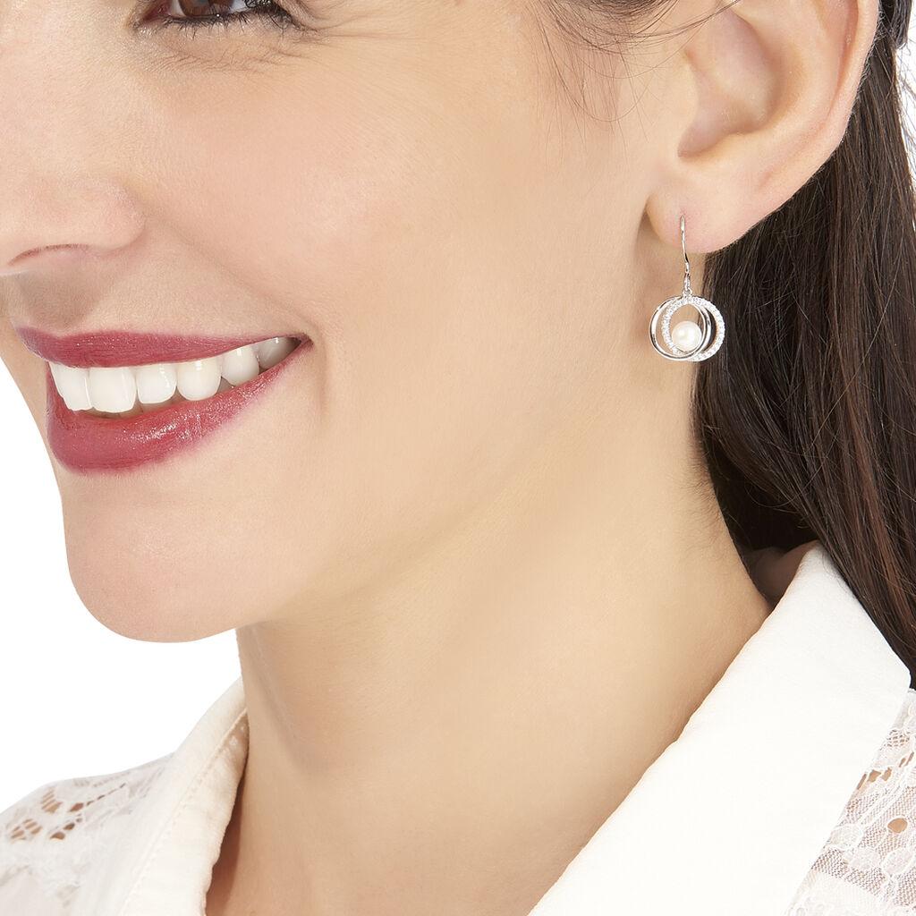 Boucles D'oreilles Pendantes Laury Argent Perle De Culture Et Oxyde - Boucles d'oreilles fantaisie Femme   Histoire d'Or