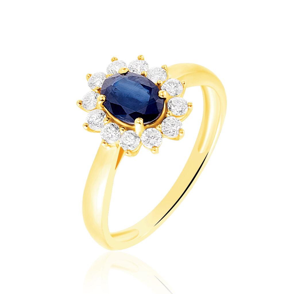 Bague Vladimir Or Jaune Saphir Et Diamant - Bagues solitaires Femme   Histoire d'Or