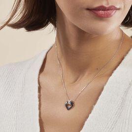 Collier Nolwen Argent Blanc Céramique Et Oxyde De Zirconium - Colliers Coeur Femme | Histoire d'Or