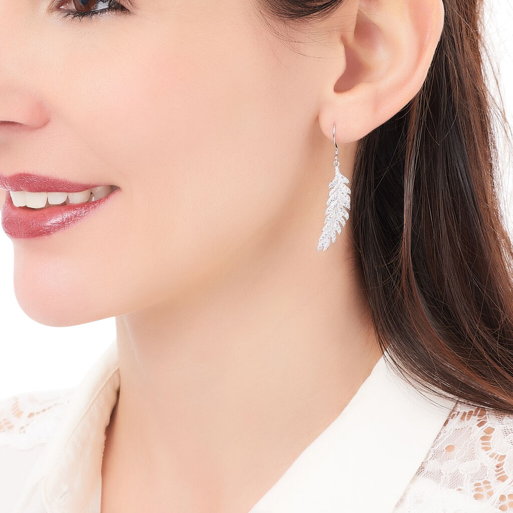 Boucles D'oreilles Pendantes Elizabet Argent Blanc Oxyde De Zirconium - Boucles d'Oreilles Plume Femme   Histoire d'Or
