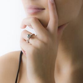Bague Massa Argent Blanc Perle D'imitation Et Oxyde De Zirconium - Bagues avec pierre Femme   Histoire d'Or