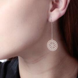 Boucles D'oreilles Pendantes Rotonda Argent Rose - Boucles d'oreilles fantaisie Femme | Histoire d'Or