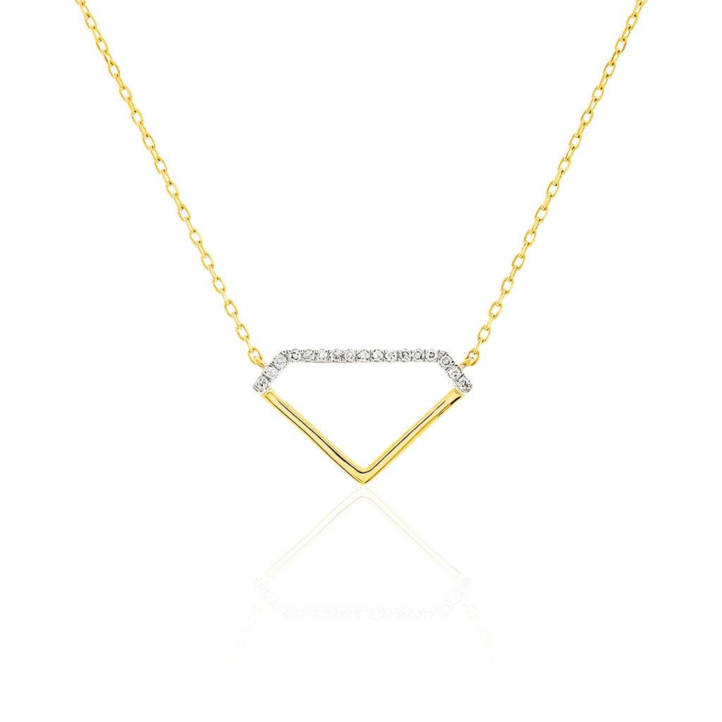 Collier Or Jaune Aimata Forme Diamant - Bijoux Femme   Histoire d'Or