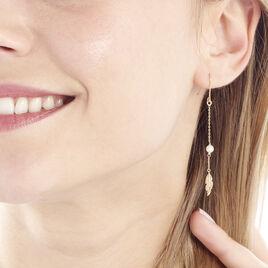 Boucles D'oreilles Pendantes Juditte Or Jaune Perle De Culture - Boucles d'Oreilles Plume Femme | Histoire d'Or