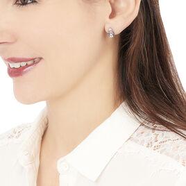 Boucles D'oreilles Puces Tieanddye Or Blanc Topaze Saphir Et Diamant - Clous d'oreilles Femme | Histoire d'Or