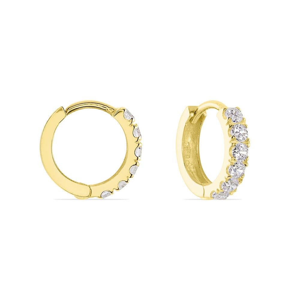 Créoles Andgelina Rondes Or Jaune Oxyde De Zirconium - Boucles d'Oreilles Infini Femme   Histoire d'Or